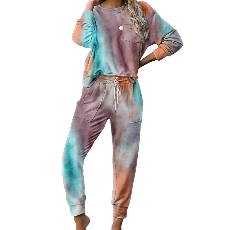 2020 New Women Autumn Winter Tie-Dye Leisure Tops Fashion Long Sleeve Shirts Long Pants Pajama Set Women's Sleep Lounge Sets