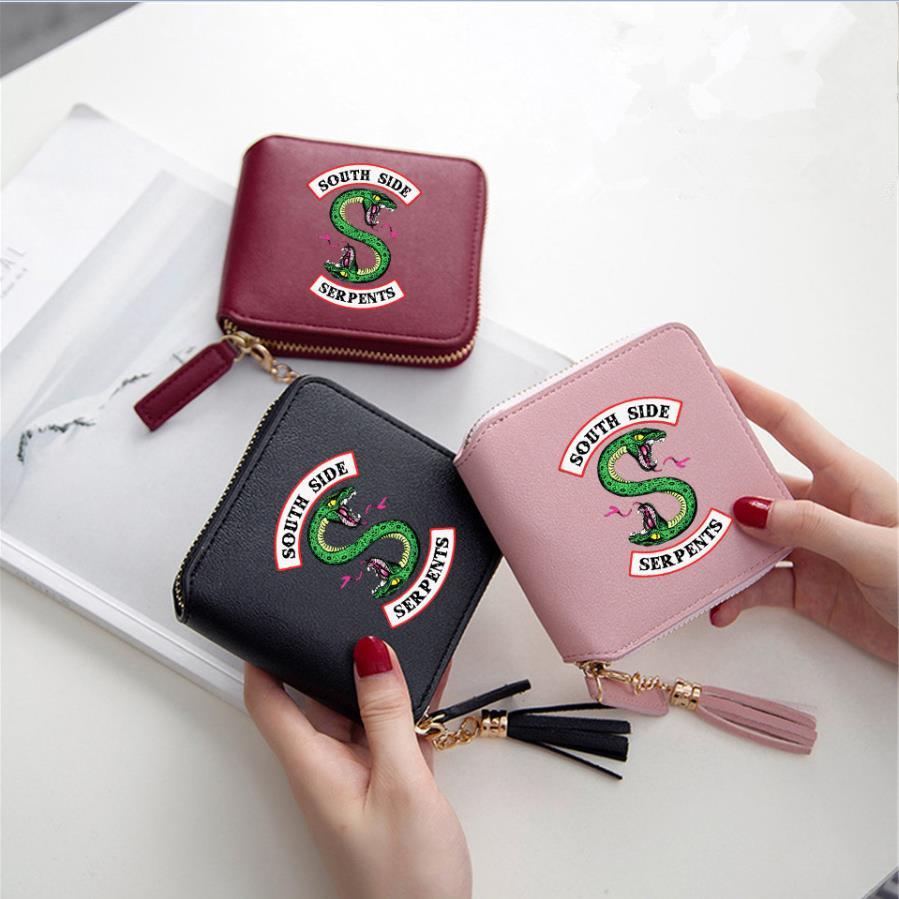New Riverdale Serpents Cosplay Accessories Archie Betty Women Girls Wallet Metal PU Zipper Tassel Square Coin Purse Card Bag
