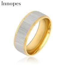 Innopes Titanium Steel gold Midi Groove Rings For Men Ring For Women Twill Wedding Rings Men Blue Finger Ring Women Jewelry цена и фото