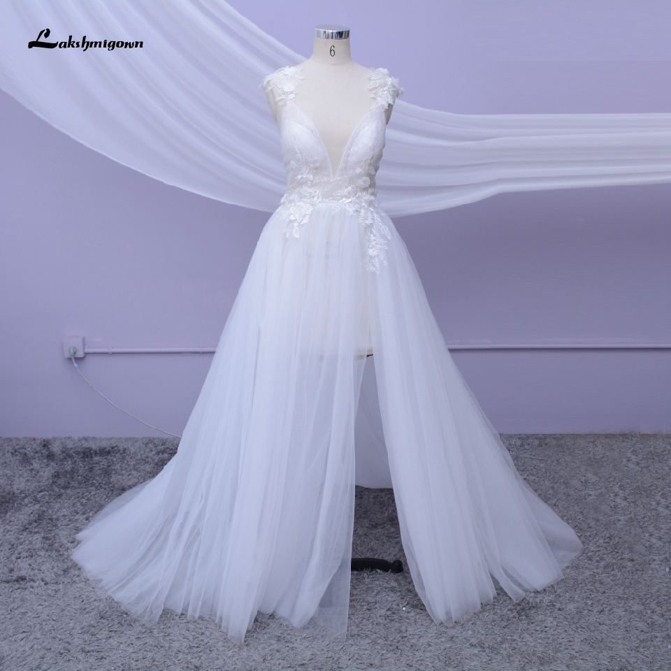 Spaghetti Beach Wedding Dress 2020 High Split Sexy Bridal Gown Open Back 3D Flower White Tulle Mariage Boho Wedding Dresses
