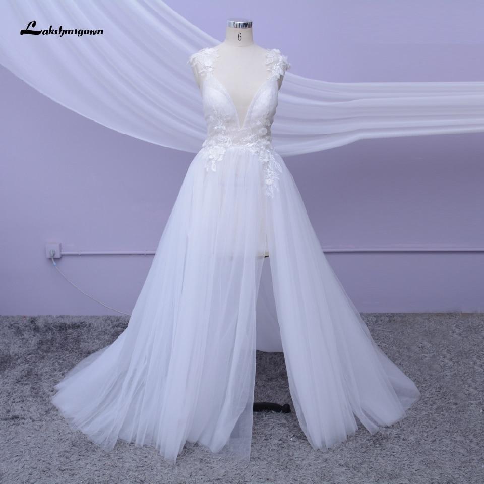 Spaghetti Beach Wedding Dress 2020 High Split Sexy Bridal Gown Open Back 3D Flower White Tulle Mariage Boho Wedding Dresses