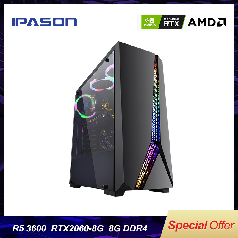 IPASON gaming PC AMD R5 3600 RTX2060 SUPER 240G SSD DDR4 16G RAM FOR game PUBD desktop gaming computers PC assembly machine image