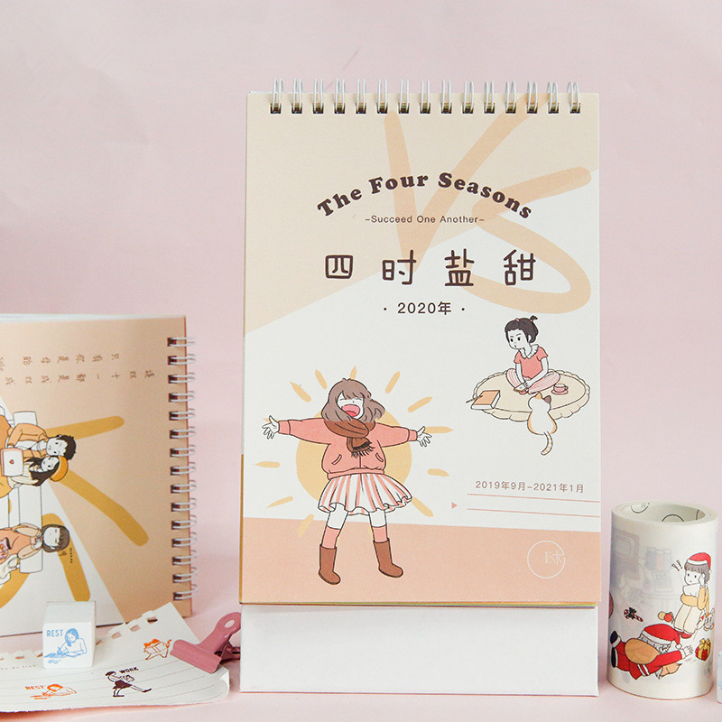 2020 The Four Seasons Series Calendar Cartoon Figure Memo Coil Calendars Daily Schedule Planner 2019.09-2020.12