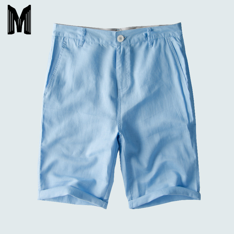 2019 Men Summer Casual Shorts Men Cotton Linen Board Shorts Solid Breathable Fashion Comfortable Short Pants Men Y1900