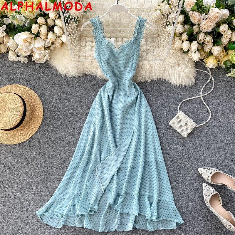 Женское шифоновое платье ALPHALMODA, асимметричное пляжное платье в горошек с разрезом спереди и открытой спиной, Трендовое праздничное платье, Новое поступление 2020|Платья|   | АлиЭкспресс
