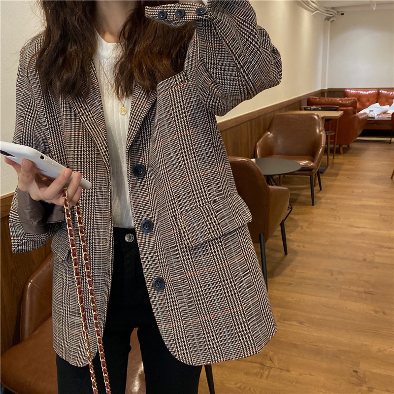 HziriP Vintage Single Breasted Plaid Women Blazer Jackets Female 2020 New Retro OL Suit Coat Feminino Blazers Outerwear Tops