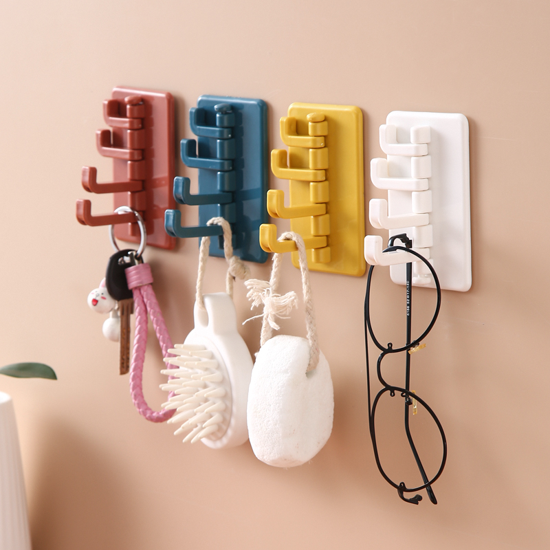 Multi-Function Rotatable Storage Organizer Holder Hat Clothes Rack Key Hanging 4 Hook Storage Wall-mounted Hanger Accessories