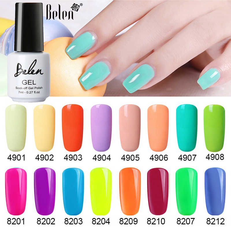 Belen 7 Ml Macaron Fluoresensi Lampu Neon Warna Gel Cat Kuku UV LED Manikur Nail Lacquer Rendam Off Candy Colo kuku Gel Polandia