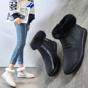 Image 3 - עור אמיתי שלג מגפי נשים גבוהה באיכות נשים של מגפי שיער ארנב חורף מגפי נשים נעליים חמות אישה Botas mujer