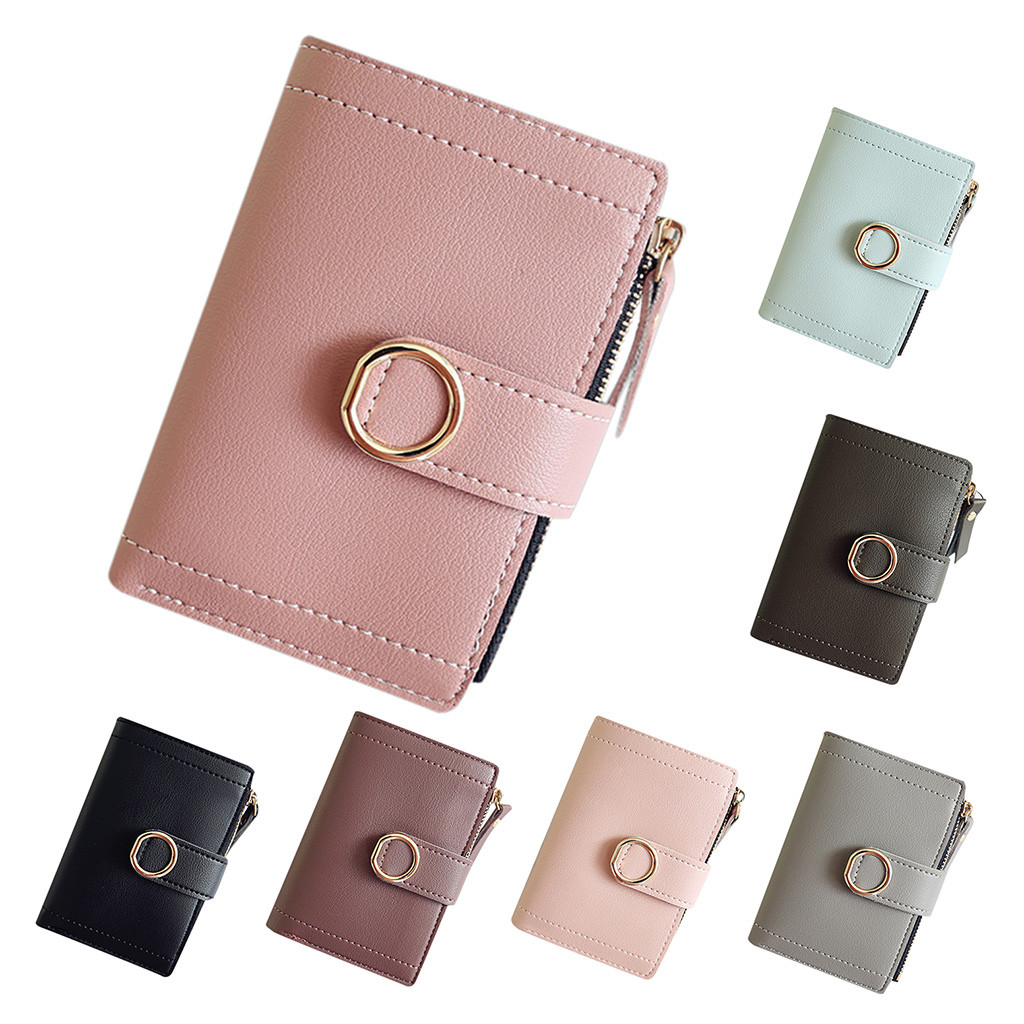 Women Short Style Fashion Pure Color Lovely Coin Purse Card Holder Bag