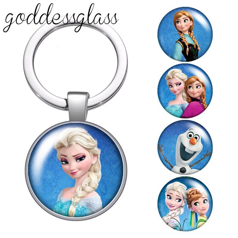 Disney princesas elas anna filme redondo de vidro cabochão chaveiro saco porta-chaves do carro chaveiro titular encantos chaveiros para crianças presente