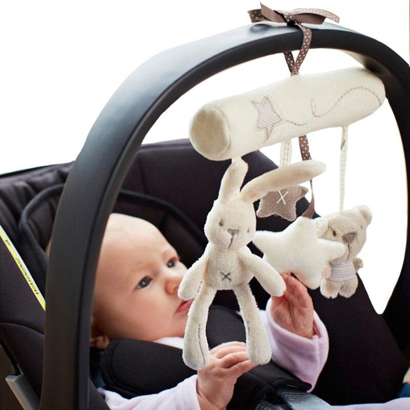 Coelho bebê pendurado cama assento de segurança brinquedo de pelúcia sino mão multifuncional brinquedo de pelúcia carrinho de criança presentes móveis wj141
