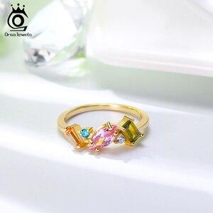 Image 5 - ORSA JEWELS โรแมนติก 925 แหวนเงินทองชุบสีสันสดใส Zircon แหวนเงิน 925 เครื่องประดับสำหรับผู้หญิง SR208