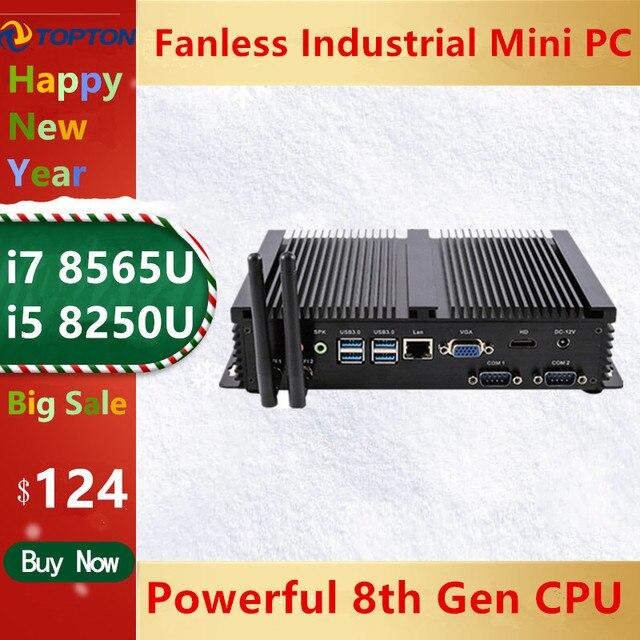 2020 Topton New Fanless Mini PC i7 8565U/ i5 8265U /i3 5005U Industrial Mini Desktop Computer 2 COM HD VGA 300M Wifi 4K HD HTPC