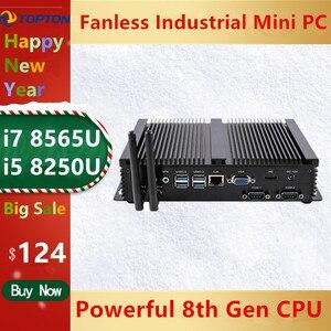 Image 1 - 2020 Topton جديد بدون مروحة كمبيوتر مصغر i7 8565U/i5 8265U/i3 5005U كمبيوتر مكتبي صغير صناعي 2 COM HD VGA 300M واي فاي 4K HD HTPC