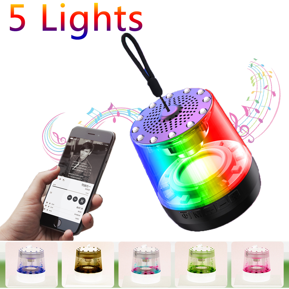 Portable Bluetooth Speaker with RGB LED Night Light Wireless Loud Speaker HD HiFi Powerful Sound W/Mic Hands Free Home Outdoor