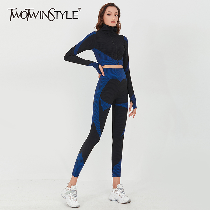 TWOTWINSTYLE Hit Color Slim Two Piece Set For Women Stand Collar Long Sleeve Tops Stretch Sport Suit Female 2020 Fashion New