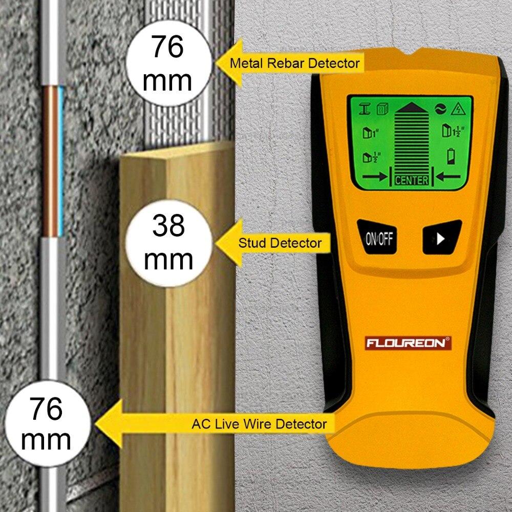 Floureon 3 в 1 металлоискатель найти металл, дерево, штифты переменного напряжения живой провод обнаружения стены сканер электрическая коробка искателя детектор стены