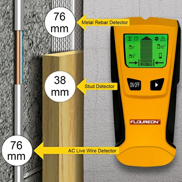 Floureon 3 In 1 Metal Detector Find Metal Wood Studs AC Voltage Live Wire Detect Wall Scanner Electric Box Finder Wall Detector