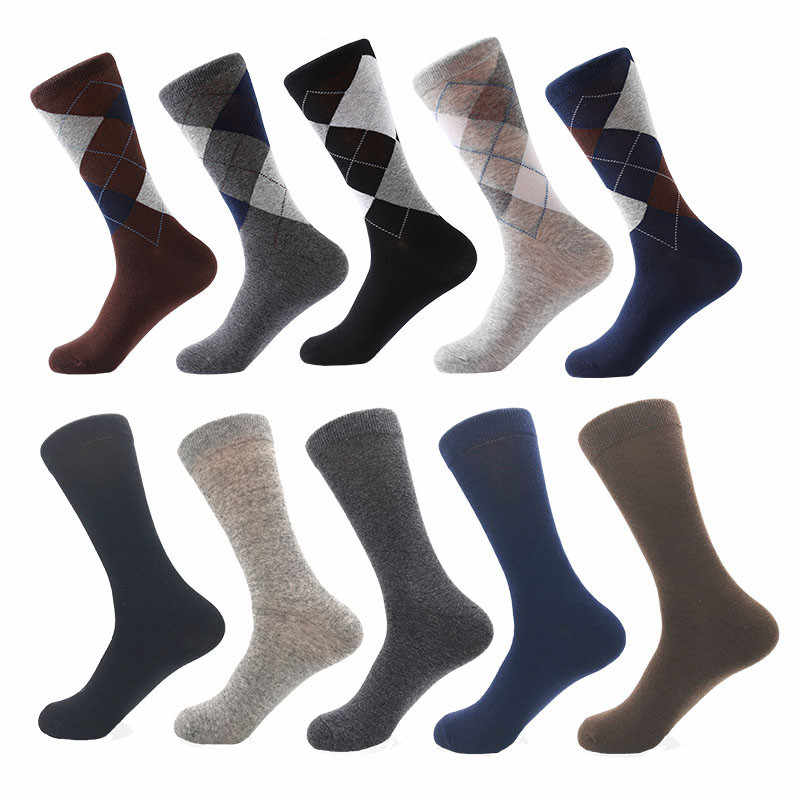 MYORED drop shipping ผ้าฝ้ายถุงเท้าผู้ชายลูกเรือถุงเท้าธุรกิจคลาสสิกลายสก๊อตสี socksCalcetines de hombre
