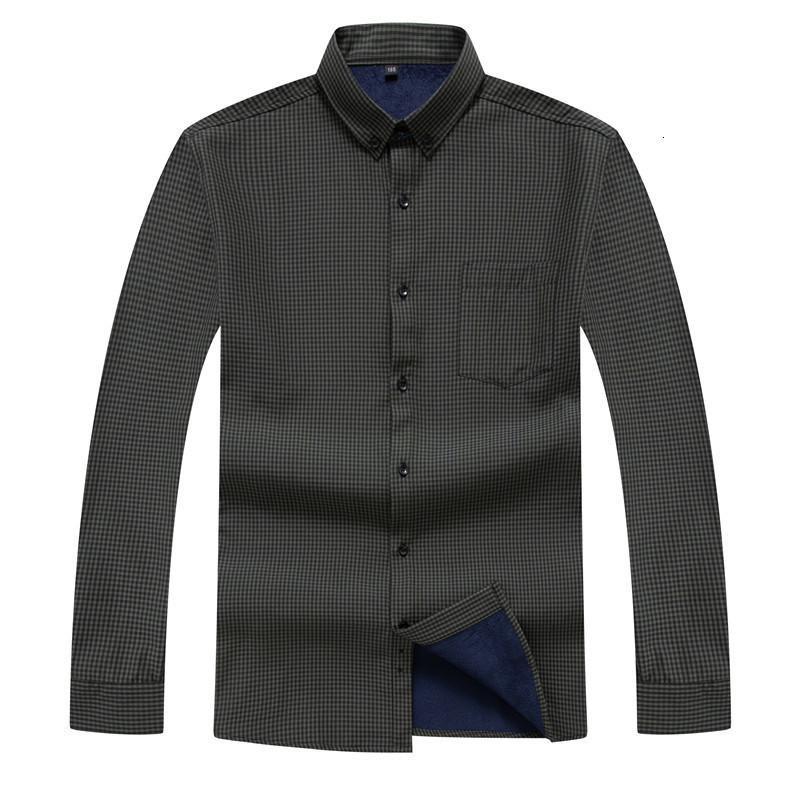 Plus SIZE 8XL 7XL Men Dress Shirt 2020 Winter Men's Long Sleeve Plaid Warm Thick Fleece Lining Shirt Fashion Soft Casual Flannel