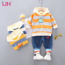 Sports-Suit Baby-Boy Trousers Hooded Striped-Top Newborn Children's Spring LZH Long-Sleeve