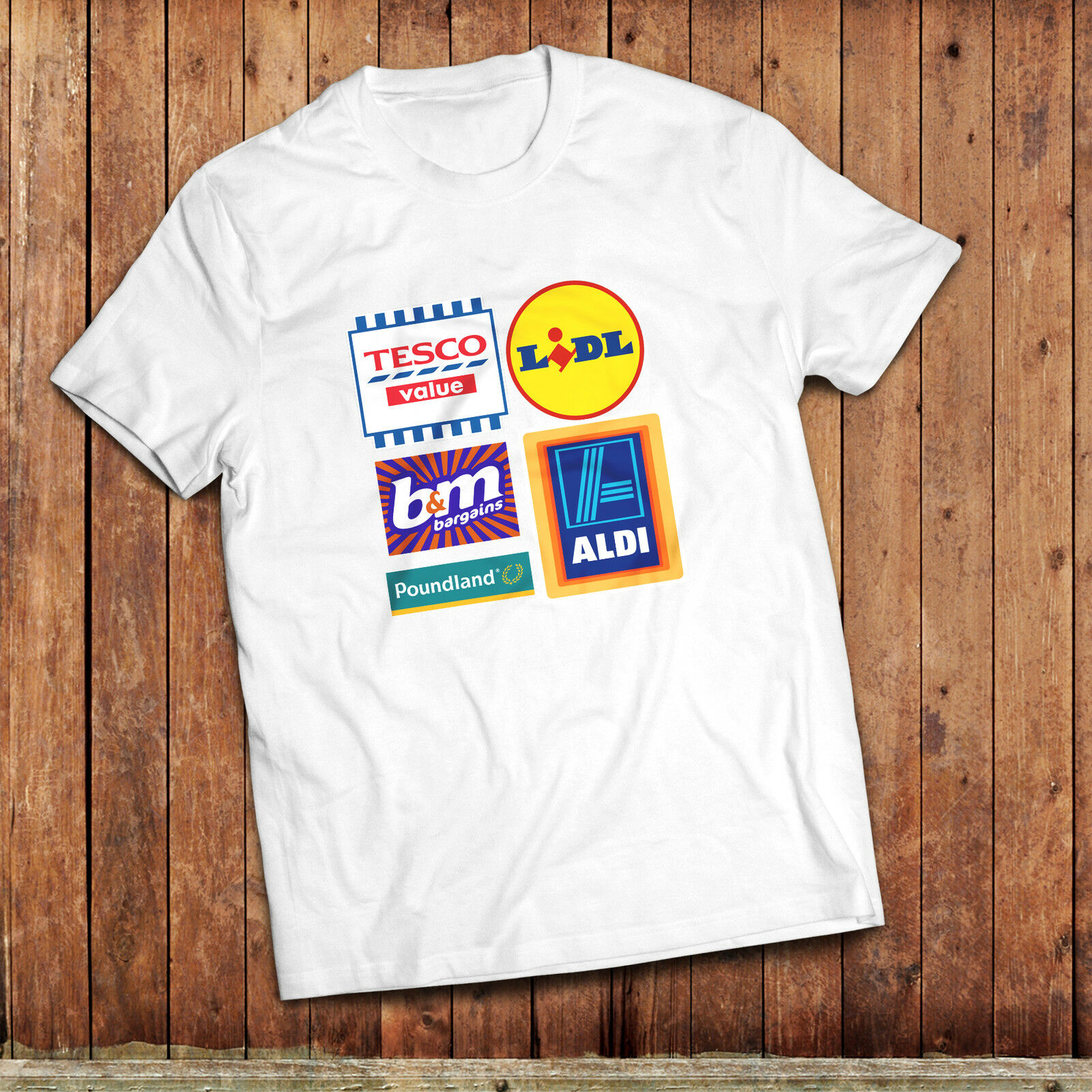 Budget supermarket T-Shirt, Tesco Value, Lidl, Aldi, poundland, B &M, UK high st image