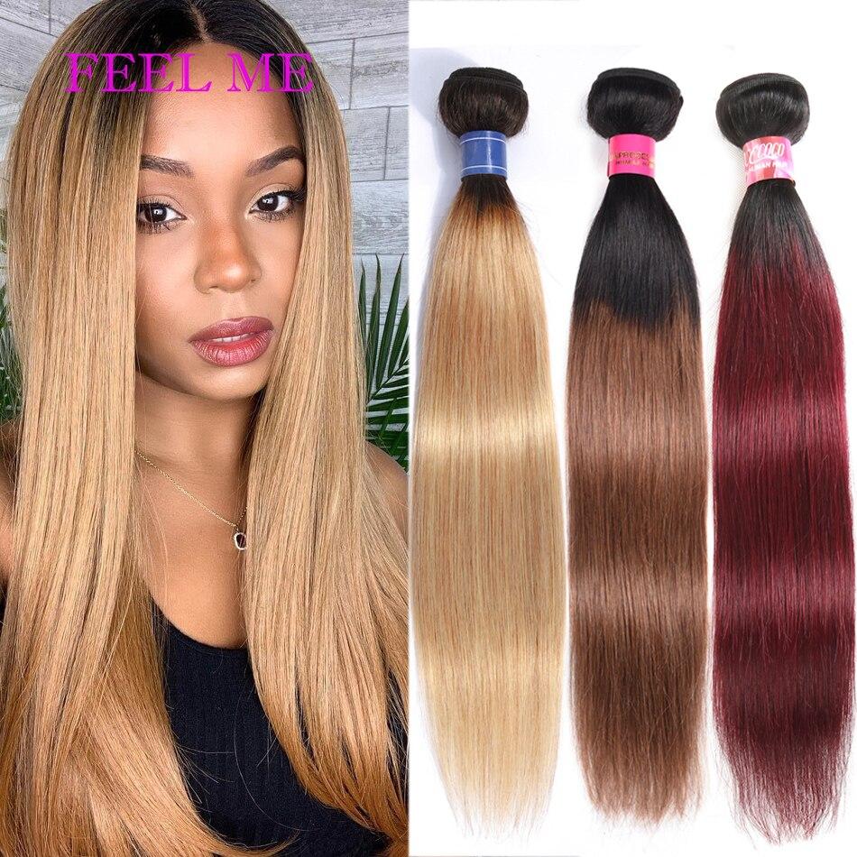 Feixes de cabelo reto brasileiro #27 mel loira pacotes pré-colorido 3 pacotes ombre não-remy médio relação extensão do cabelo