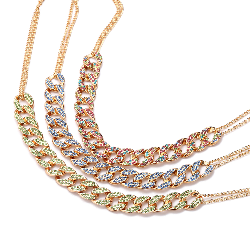 Iced Out Cuban Link Chain Necklace Women's Neck Choker Luxury Jewellery Girls Rhinestone Chocker Fashion Hip Hop Jewelry 2020