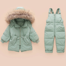 цены Winter Children's Clothing Sets Warm Baby Boy Ski Suits Snowsuits Real Fur Girl's Down Jackets Outerwear Coat+suspender Jumpsuit