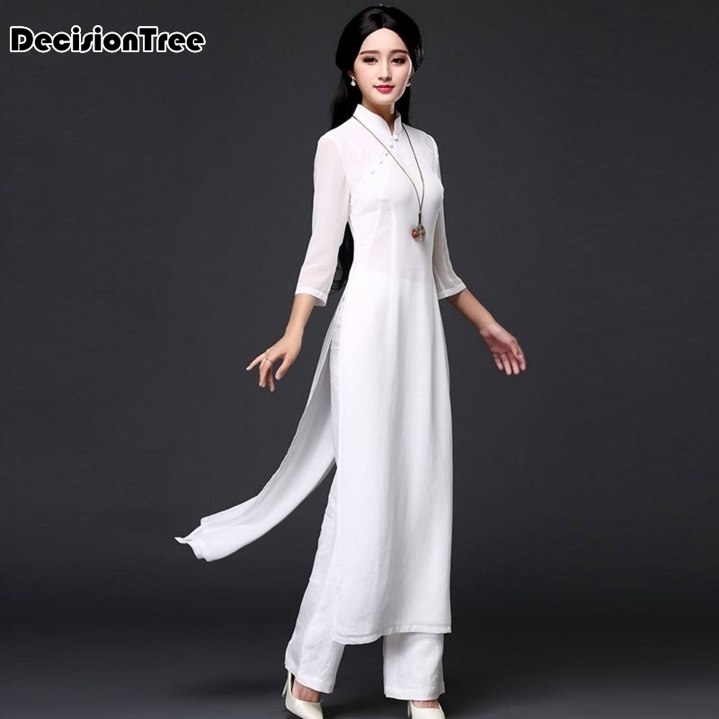 2020 Folk Style Wide Leg Pants Suit Two Pieces Vietnam Chiffon Aodai Graceful Stand Collar Elegant Long