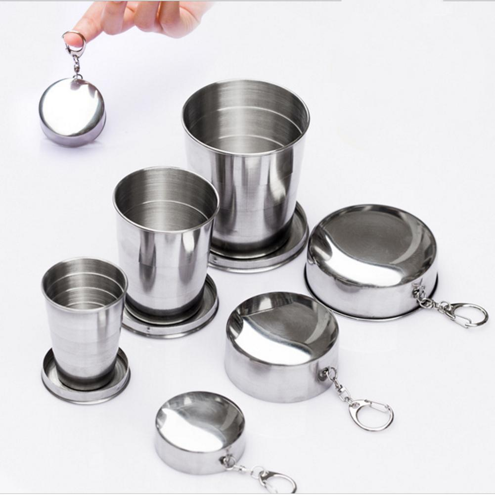 Outdoor Camping Stainless Steel Folding Cup Foldable Travel Camping Hiking Mug Portable Stackable Wine Cup With Key Ring
