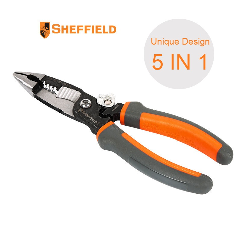 SHEFFIELD 5-in-1 Multifunctional Electrician pliers 8 inches needle nose pliers with 5 in 1 stripping cuting Crimping functions