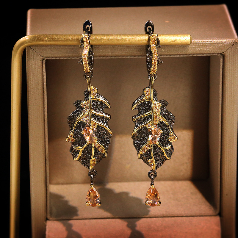 2020 Bohemia 925 Sterling Silver Natural Topaz Dangle Earrings for Women Black Gold Elegant Leaves Earrings Wedding Fine Jewelry