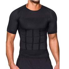 Masculino corpo tonificação t-camisa corpo shaper postura corretiva emagrecimento cinto barriga abdômen queima de gordura compressão espartilho
