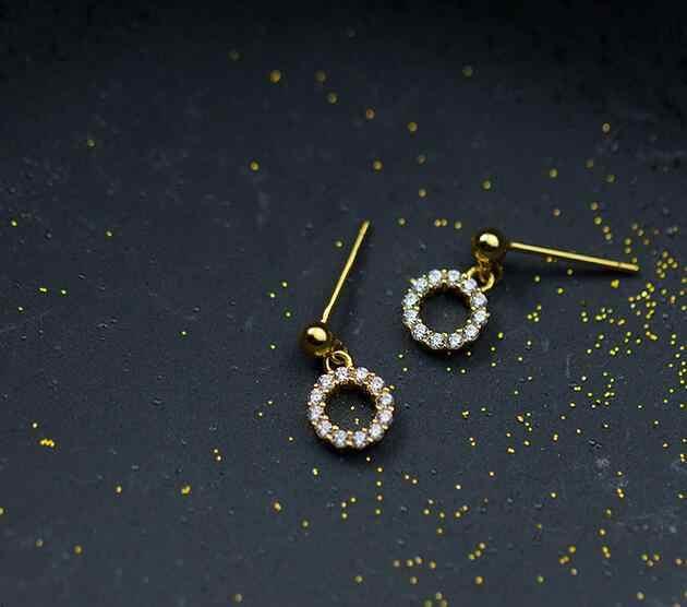 1 пара небольших 100% реальных. 925 пробы серебряные ювелирные изделия камень CZ проложили Открытый круг и круглые бусины серьги-гвоздики gtle1896