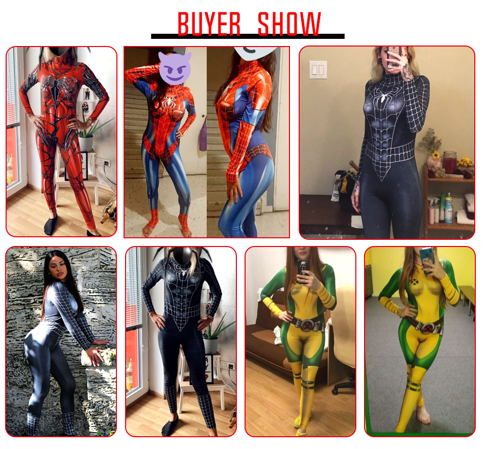 VIP FASHION 2019 New Cosplay 3D Black SpiderMan Printed Super hero Costume Women Marvel Movie Cosplay Bodysuit For Women