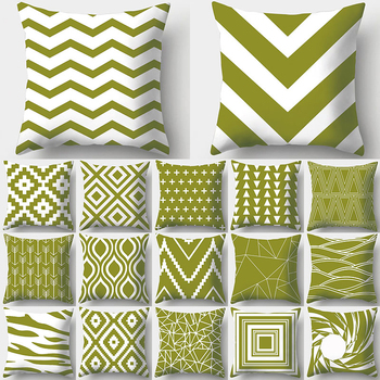 Army Green Geometry Print Decorative Cushions Pillowcase Polyester Cushion Cover Throw Pillow Sofa Decoration Pillowcover 40937