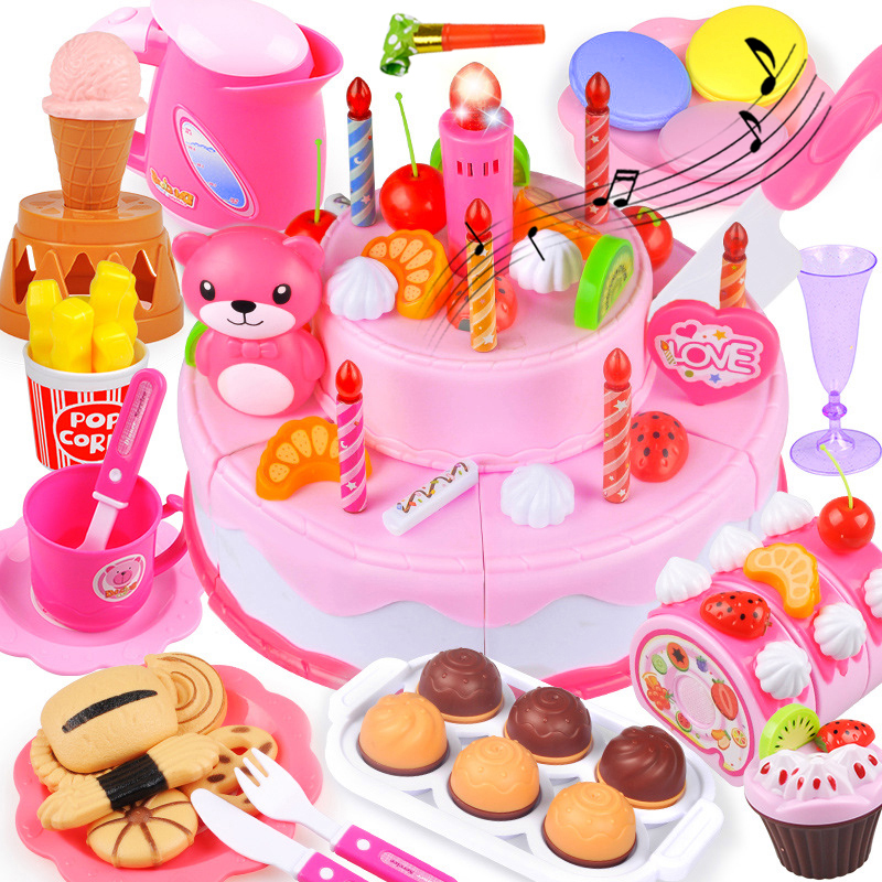 Birthday Cake Toys 37-80PCS DIY Pretend Play Fruit Cutting Kitchen Food Kids Toy Pink Blue Gifts For Children Cocina De Juguete