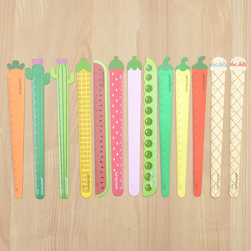 1PCS Carrot Vegetable Wood Straight Ruler Cactus Ruler Measuring Tool Bookmark Drawing Office Stationery Student Supply Gift