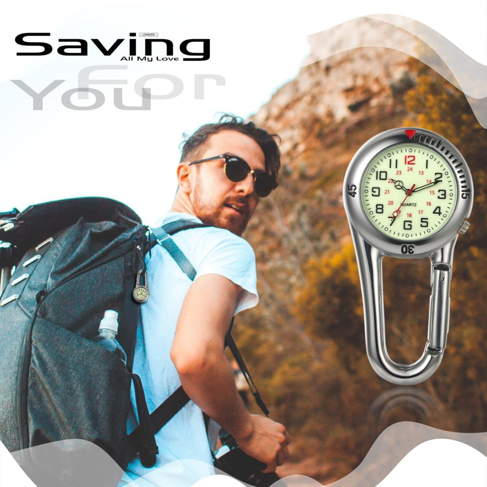 Lancardo Carabiner Watch Fluorescent Dial Luminous Hands  Climbing Buckle Backpack Carabiner  Sports Watches Vintage Clock
