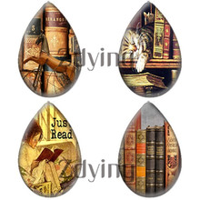 Zdying 10pcs/lot Vintage So Many Books So Little time Water Tear Drop Glass Photo Cabochon Demo Flat Back DIY Jewelry Findings