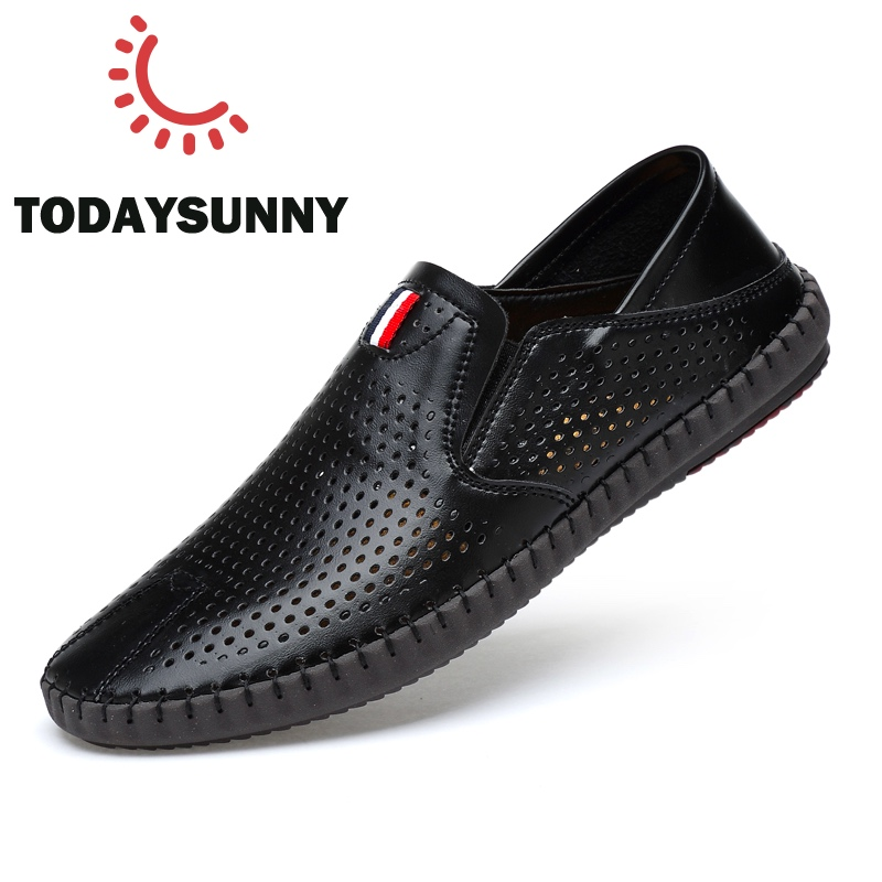 Men Loafers Shoes Leather Hollow Sneakers Soft Moccasins Shoes Male Flat Slip-On Loafers Shoes Chaussure Home Causal Sneakers 45