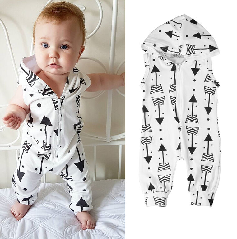 Newborn Baby Boy Girl Hooded Vest Jumpsuit Clothes Outfit Set