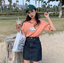 2019 Spring Summer New Style Lettered Printed Short Sleeve T-shirt Women's Loose-Fit Crew Neck Students Versatile Korean-style W
