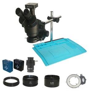 Image 1 - 34MP cyfrowy wideo HDMI mikroskop USB kamera 3.5X 90X simul focal Trinocular mikroskop Stereo lutowania pcb zestaw do naprawy telefonu