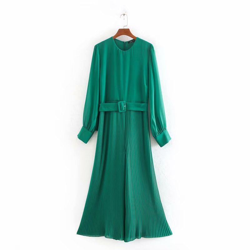 New Women O Neck Long Sleeve Belt Siamese Ladies Solid Color Wide Leg Pants Pleated Jumpsuits Long Sleeve Overalls Trousers P700