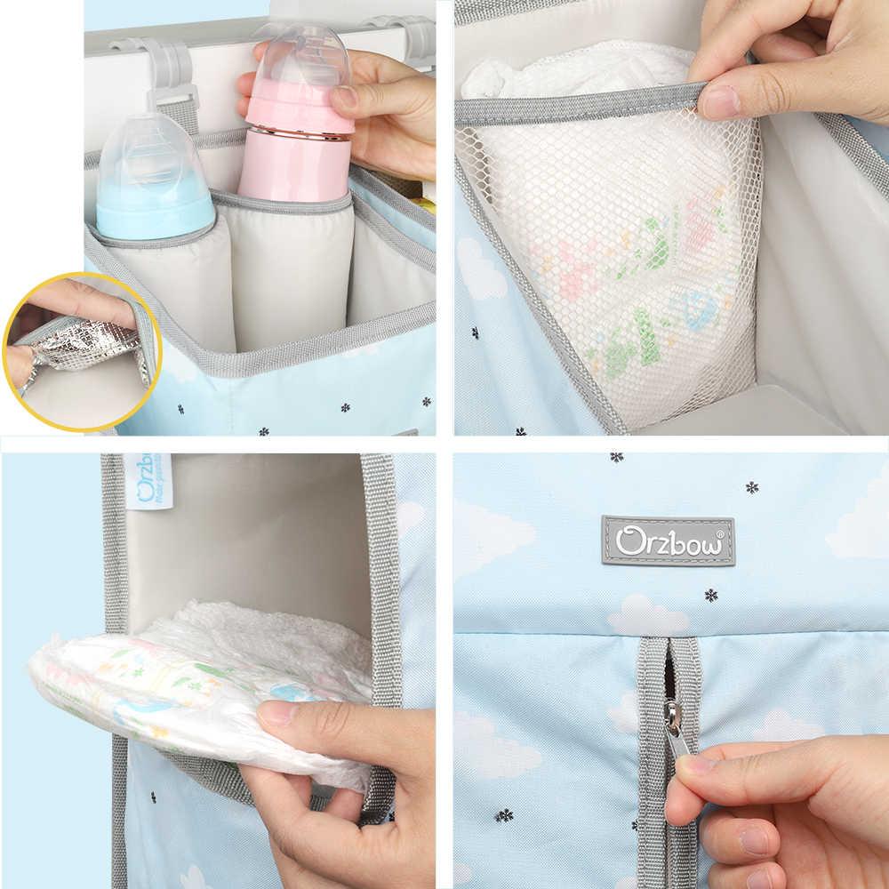 Orzbow เตียงเด็กทารกแขวนกระเป๋าสำหรับทารกแรกเกิดชุดเครื่องนอน Organizer กระเป๋าผ้าอ้อมเด็กเตียงผ้าลินิน