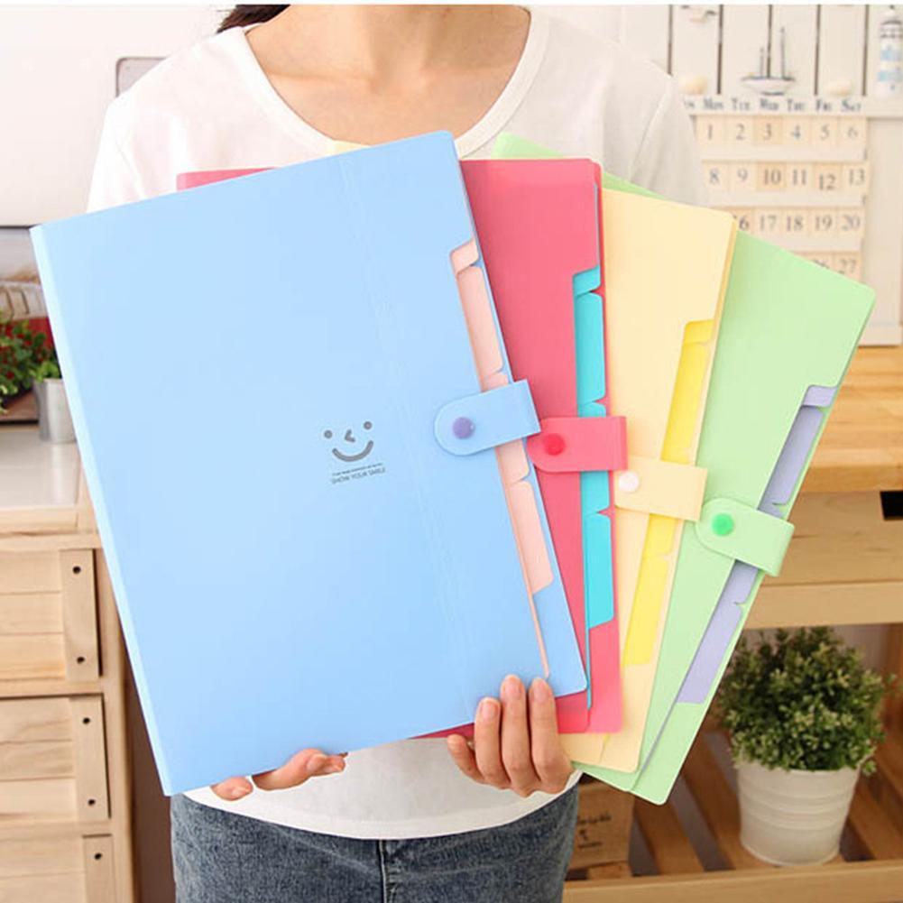 Office Plastic Folders Multi Pocket Organizer A4 File Expansion Document Folder