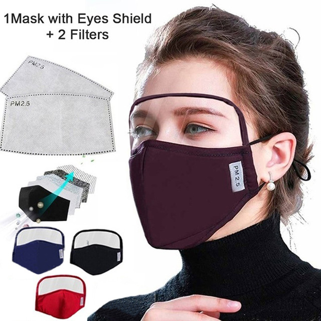 Cotton Outdoor Facemask With Eyes Shield + 2 Filters Windproof Mouth-muffle Máscara In Stock Masque Breathable Toiletry Kits 1